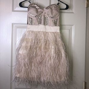 Bebe feather cocktail dress